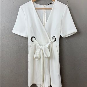 Topshop short sleeve white short romper with tie